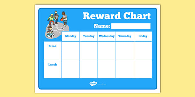 Break Time Lunch Time Reward Chart - break time, lunch time, reward chart, reward, chart