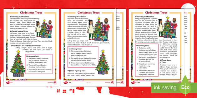 KS1 Christmas Trees Differentiated Fact File - Christmas, Nativity, xmas, Xmas, Father Christmas, Santa, Christmas trees, traditions, decorations,