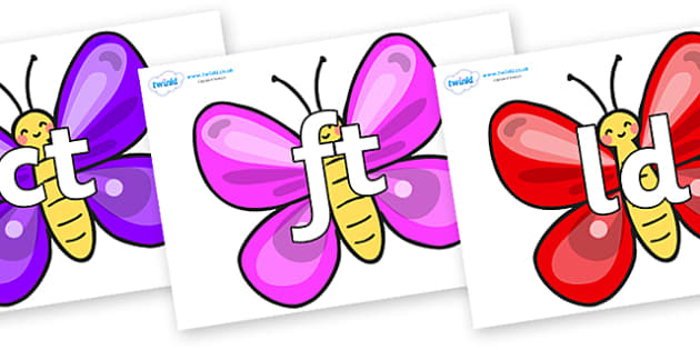 Final Letter Blends on Butterflies - Final Letters, final letter, letter blend, letter blends, consonant, consonants, digraph, trigraph, literacy, alphabet, letters, foundation stage literacy