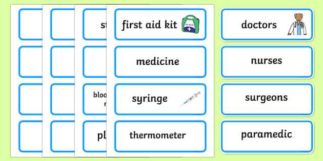 Toy Hospital Word Cards - toy hospital, toys, dolly, cars, balls, dolls, teddy, toy animals, word card, flashcards, cards