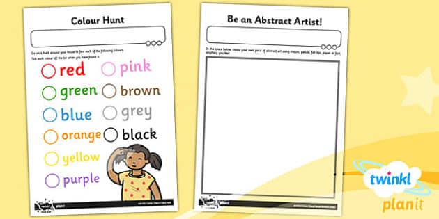 PlanIt Art KS1 Colour Chaos Home Learning Tasks - planit, art