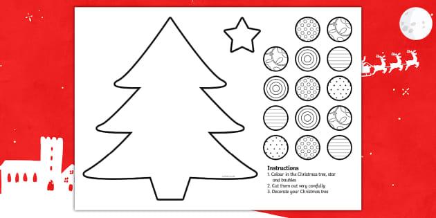 Cutting Skills Christmas Tree Activity - cutting, christmas, xmas
