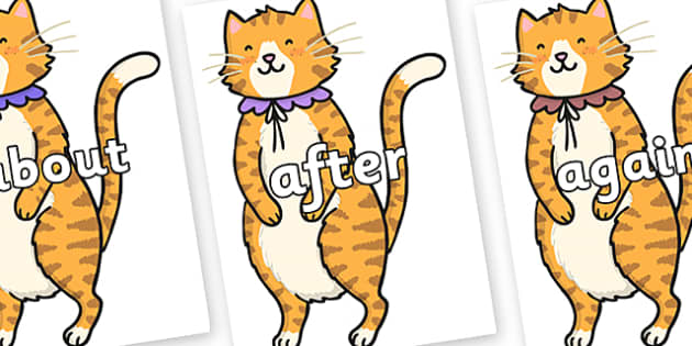 KS1 Keywords on Pussycat - KS1, CLL, Communication language and literacy, Display, Key words, high frequency words, foundation stage literacy, DfES Letters and Sounds, Letters and Sounds, spelling