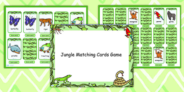 Jungle Themed Matching Cards Activity Flipchart - jungle, match