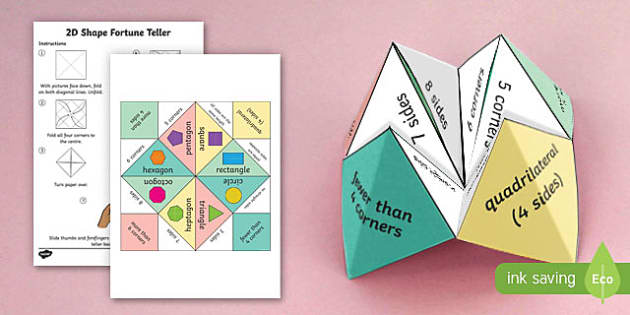 2D Shape Fortune Teller - 2d shape, fortune teller, activity, craft, fold