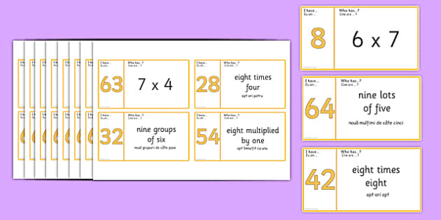 Loop Cards 6, 7, 8 and 9 Times Table Romanian Translation - romanian, Loop cards, cards, 6,7, 8, 9, times, table, multiple, multiples, multiplication, Maths, numbers, numeracy, KS2, activity, game
