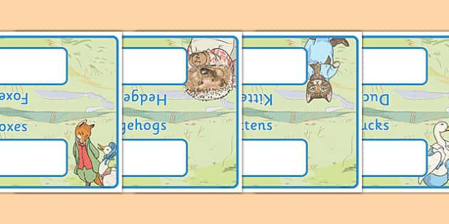 Beatrix Potter Table Signs - beatrix potter, author, table signs, table, signs, display