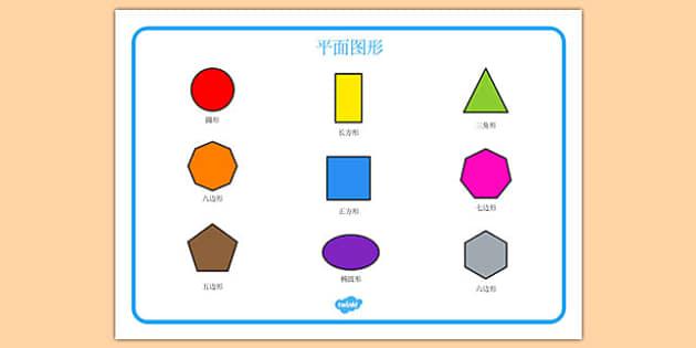 2D Shape Word Mat Mandarin Chinese - mandarin, Word mat, writing aid, 2D Shape names, Shape Flashcards, Shape Pictures, Shape Words, 3D flashcards