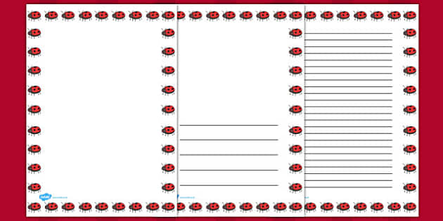 Ladybug Full Page Borders - page borders, Ladybug page borders, ladybird borders for page, minibeast page borders, A4, border for page, lined pages