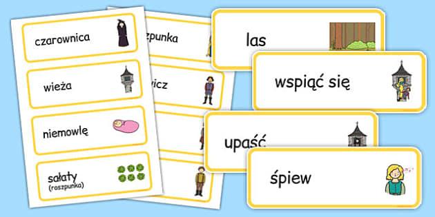 Karty ze słownictwem Roszpunka po polsku - bajki, baśnie