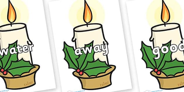 Next 200 Common Words on Christmas Candles - Next 200 Common Words on  - DfES Letters and Sounds, Letters and Sounds, Letters and sounds words, Common words, 200 common words