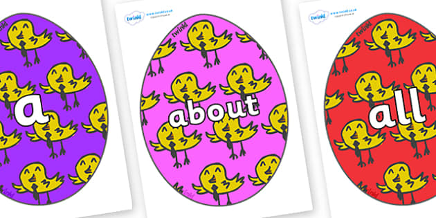 100 High Frequency Words on Easter Eggs (Chicks) - High frequency words, hfw, DfES Letters and Sounds, Letters and Sounds, display words