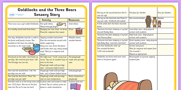 Goldilocks and the Three Bears Sensory Story-goldilocks and the three bears, sensory, sensory story, goldilocks sensory story, sensory worksheet, story worksheet