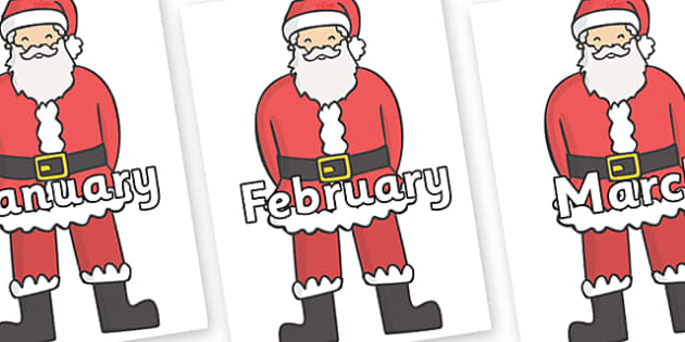 Months of the Year on Father Christmas - Months of the Year, Months poster, Months display, display, poster, frieze, Months, month, January, February, March, April, May, June, July, August, September