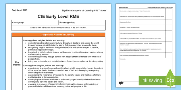 Religious and Moral Education Significant Aspects of Learning and Progression Framework CfE Early Level Tracker-Scottish