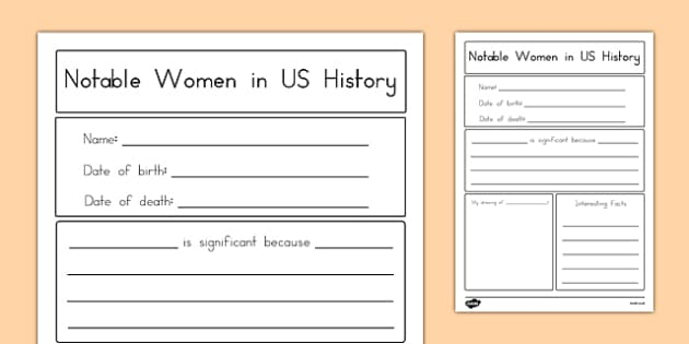 Notable Women in United States History Graphic Organizer - usa, america, US Resources, Women's History Month