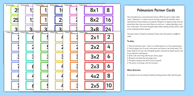 Times Tables Partner Cards Game Pack - times table, times tables, partner, cards, game, pack
