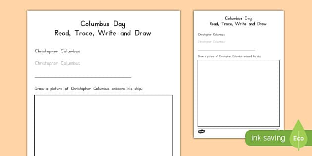 Columbus Day Read, Trace, Write and Draw Activity Sheet, worksheet