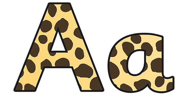 Cheetah Pattern Display Lettering (Small) - safari, safari lettering, safari display lettering, cheetah lettering, cheetah pattern lettering, cheetah
