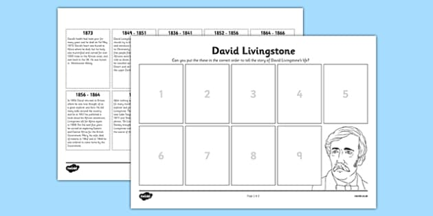 Scottish Significant Individuals David Livingstone Sequencing Worksheet - Scottish significant individual, explorer, Christian missionary, Africa, Victoria Falls, Zambezi, slave trade, anti-slave