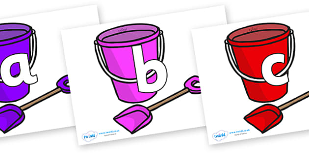 Phoneme Set on Spade and Buckets - Phoneme set, phonemes, phoneme, Letters and Sounds, DfES, display, Phase 1, Phase 2, Phase 3, Phase 5, Foundation, Literacy