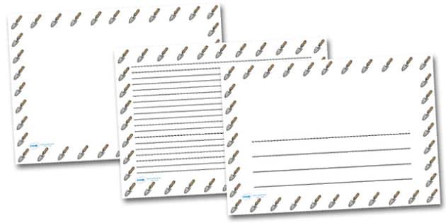 Trowel Landscape Page Borders- Landscape Page Borders - Page border, border, writing template, writing aid, writing frame, a4 border, template, templates, landscape