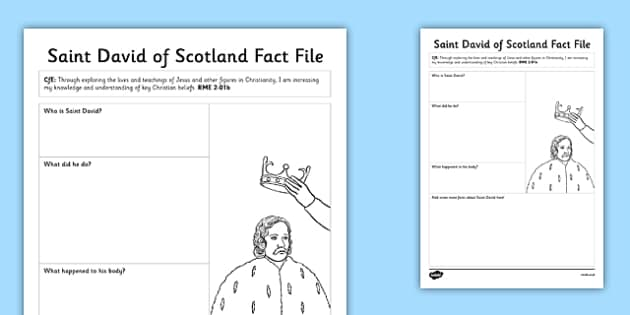 Saint David of Scotland Fact File - cfe, saint david, saint david of scotland, scotland, st david, fact file