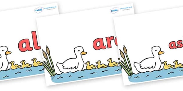 Tricky Words on Five Little Ducks - Tricky words, DfES Letters and Sounds, Letters and sounds, display, words