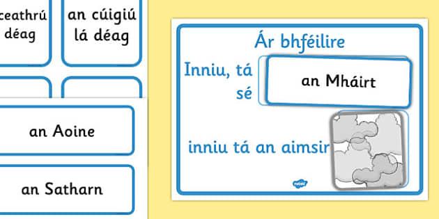 Weather Calendar Gaeilge - gaeilge, Weather calendar, Weather chart, weather, calendar, months, days, weather display, date display, rain, sun, snow, fog, cloud, aimsir