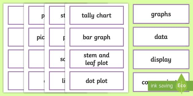 Data Display Word Cards - NZ Statistics (Back to School), graphs, display, charts, key maths vocabulary, technical maths vocab