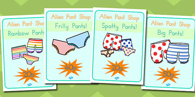 Pant Shop Role Play Posters to Support Teaching on Aliens Love Underpants - australia, pant shop, role-play, posters