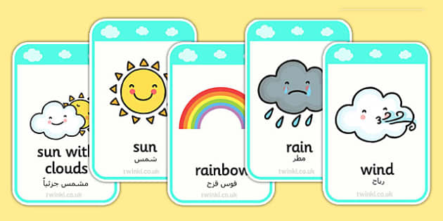 Weather Flashcards Arabic Translation - arabic, weather, flashcards, flash, cards