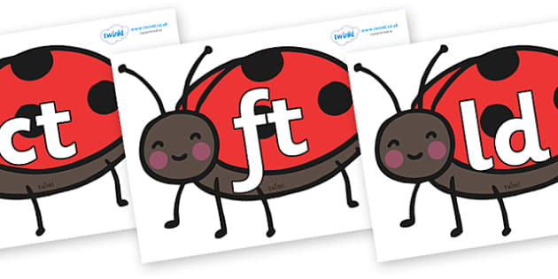 Final Letter Blends on Ladybirds - Final Letters, final letter, letter blend, letter blends, consonant, consonants, digraph, trigraph, literacy, alphabet, letters, foundation stage literacy