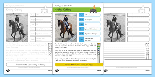 Australian Olympian Kristy Oatley Handwriting Practice Activity Sheet, worksheet