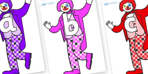 Phoneme Set on Clowns - Phoneme set, phonemes, phoneme, Letters and Sounds, DfES, display, Phase 1, Phase 2, Phase 3, Phase 5, Foundation, Literacy