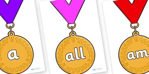 Foundation Stage 2 Keywords on Gold Medals - FS2, CLL, keywords, Communication language and literacy,  Display, Key words, high frequency words, foundation stage literacy, DfES Letters and Sounds, Letters and Sounds, spelling