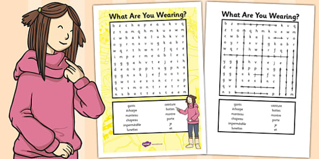 French Clothes 2 Word Search - France, wordsearch, dress, words