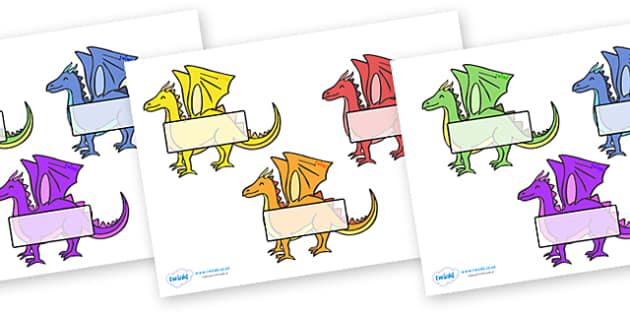 Editable Self Registration Labels (Dragons) - Self registration, register, dragons, dragon, editable, labels, registration, child name label, printable labels