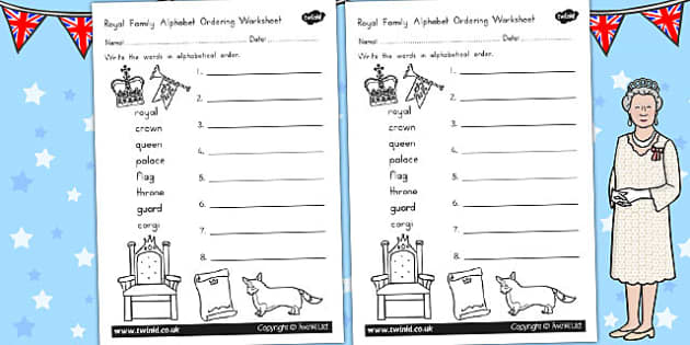 Royal Family Themed Alphabet Ordering Worksheet - royality, queen