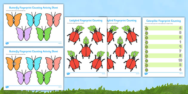 Minibeast Fingerprint Counting Activity Sheets Pack - EYFS activities, number, EAD, ladybird, caterpillar, butterfly, worksheet