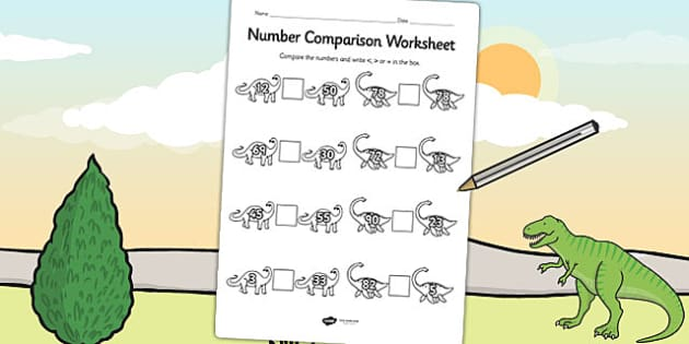 Dinosaur Number Comparison Worksheet - dinosaur, numbers, maths