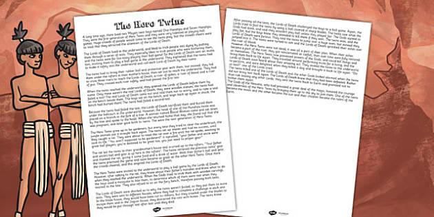 The Hero Twins Mayan Civilization Story Print Out - ancient maya