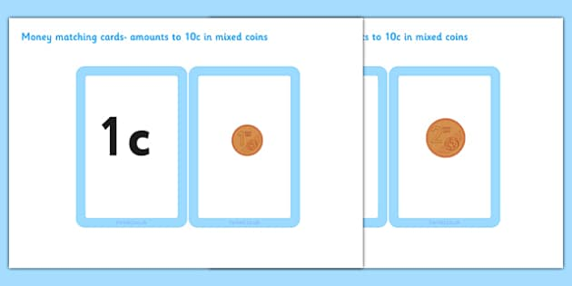 Money Matching Cards 1 cent - 10 cent - money, matching cards, 1c, 10c