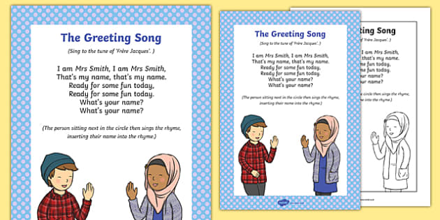 Greeting Song Rhyme Sheet - greeting song, rhyme, song, rhyme, greeting, music, sing