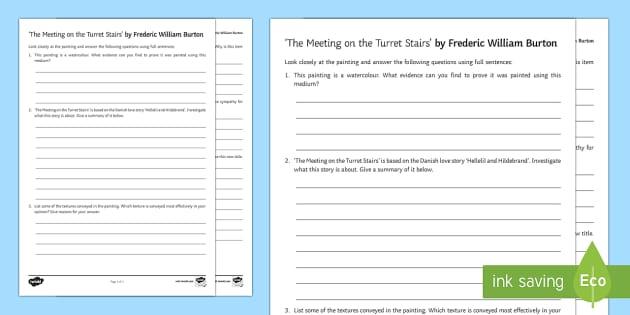 The Meeting On The Turret Stairs Art Appreciation Activity Sheet - Irish Art Resources, art strands, display resources, art appreciation, worksheet, activity sheet, ar