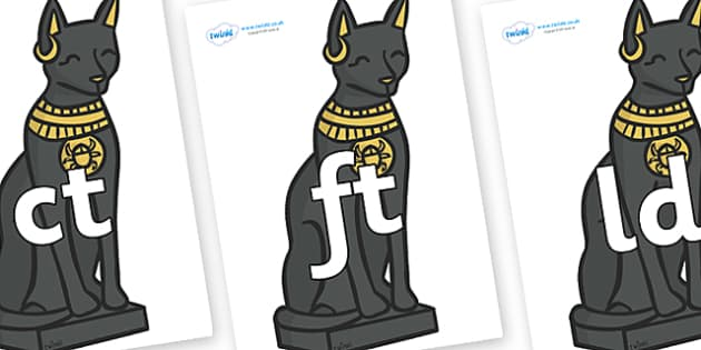 Final Letter Blends on Egyptian Cats - Final Letters, final letter, letter blend, letter blends, consonant, consonants, digraph, trigraph, literacy, alphabet, letters, foundation stage literacy
