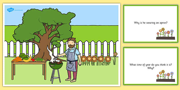 Barbecue Scene and Question Cards - barbeque, questions, comprehension pack