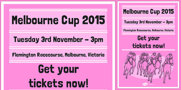 The Melbourne Cup Poster Pink - australia, melbourne cup, poster, display, pink