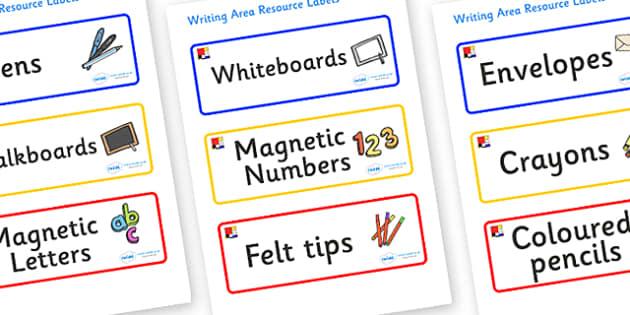 Mondrian Themed Editable Writing Area Resource Labels - Themed writing resource labels, literacy area labels, writing area resources, Label template, Resource Label, Name Labels, Editable Labels, Drawer Labels, KS1 Labels, Foundation Labels, Foundati