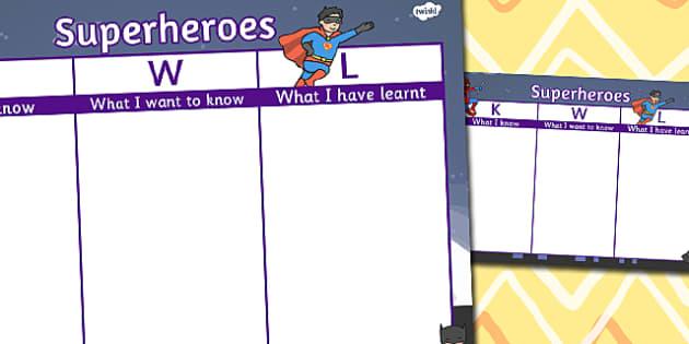 Superheroes Topic KWL Grid - superheroes, kwl, grid, know, learn
